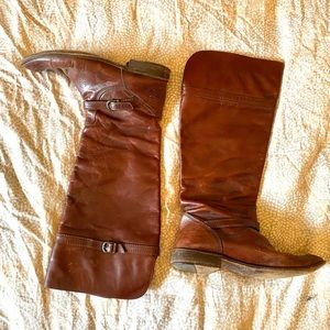 FRYE Knee High Leather Riding Boots